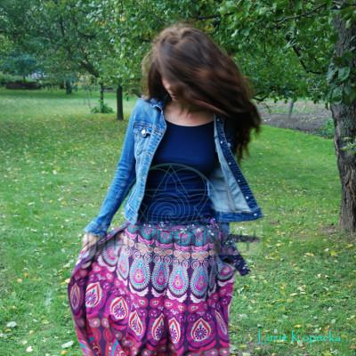 Mandalová boho sukně - fialová