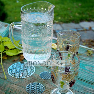 Květ života - sada tří podložek pod skleničku