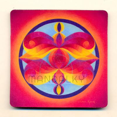 Podložka pod skleničku - mandala Andělé poznání