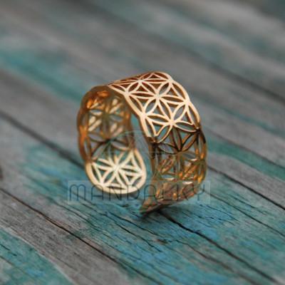Prsten Květ života III - pozlacený