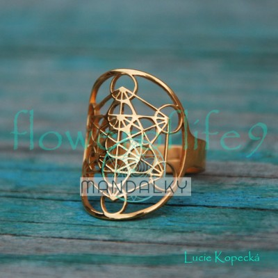Prsten Metatronova kostka - pozlacený