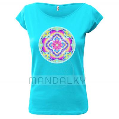 Tyrkysové tričko s mandalou - Lakšmí