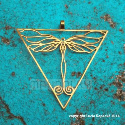 Přívěsek Vážka v trojúhelníku - TiN