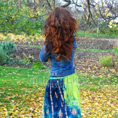 Boho sukně - zelenotyrkysová
