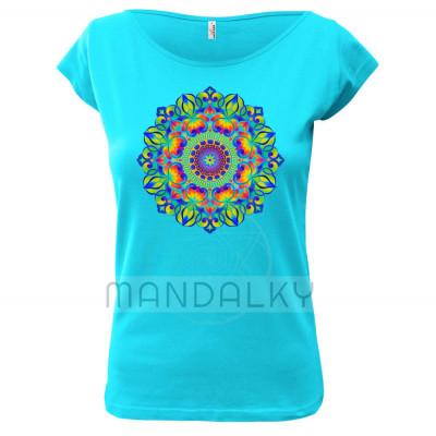 Tyrkysové tričko s mandalou - Tajemná zahrada