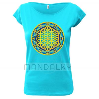 Tyrkysové tričko s mandalou - Květ života
