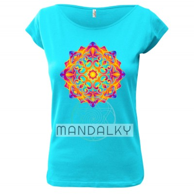 Tyrkysové tričko s mandalou - Zahrada světla