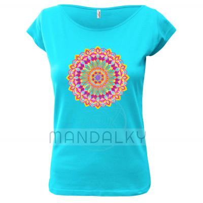 Tyrkysové tričko s mandalou - Euforie