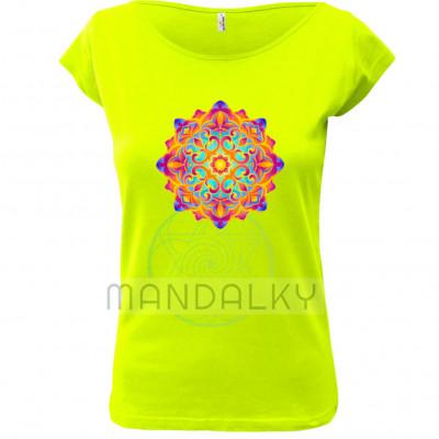 Zelené tričko s mandalou - Zahrada světla