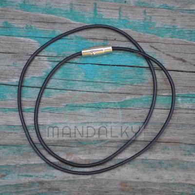 Kožený řemínek - černý s nerezovým magnetickým koncem (2 mm)