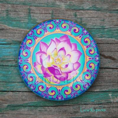 Mandala Rozkvétající lotos - kulatá