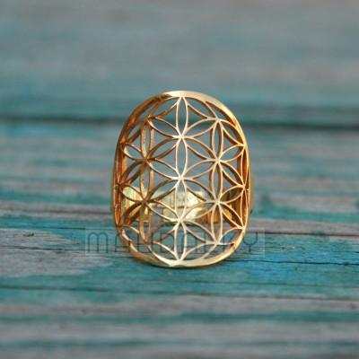 Prsten Květ života II - pozlacený