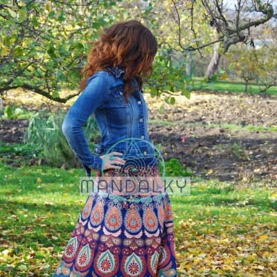 Mandalová boho sukně - modrooranžová