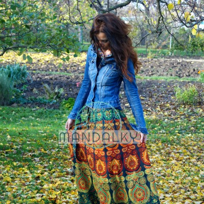 Mandalová boho sukně - zelená