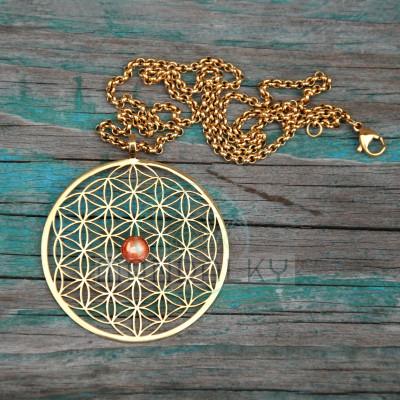 Přívěsek Květ života se slunečním kamenem - TiN