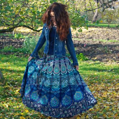 Mandalová boho sukně - modrá
