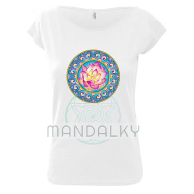 Bílé tričko s mandalou - Rozkvétající lotos