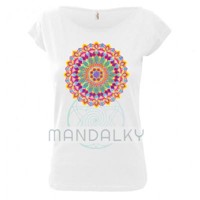 Bílé tričko s mandalou - Euforie