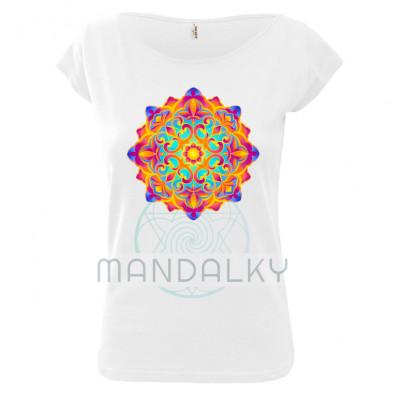Bílé tričko s mandalou - Zahrada světla