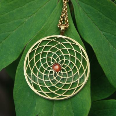 Přívěsek Sluneční květ TiN se slunečním kamenem