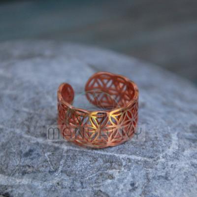 Prsten Květ života III - měď